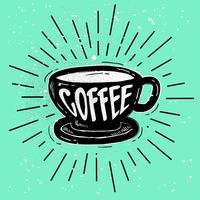 Vettore disegnato a mano della siluetta del caffè