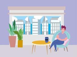 ristorante di allontanamento sociale o un bar, giovane seduto con una tazza di caffè, covid 19 coronavirus, nuova vita normale vettore