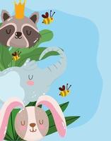 simpatico cartone animato animale adorabile piccolo elefante procione coniglio e api fogliame foglie