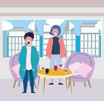 ristorante di allontanamento sociale o un bar, giovane coppia con vino e tazze di caffè sul tavolo, covid 19 coronavirus, nuova vita normale vettore
