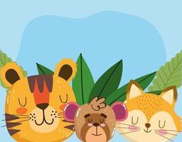 simpatico animale adorabile piccola tigre scimmia volpe fogliame cartone animato