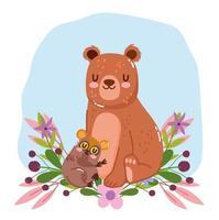 simpatici animali orso e fiori tarsius fogliame natura decorazione cartone animato vettore