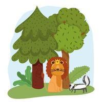 simpatici animali leone e puzzola erba foresta alberi natura selvaggia cartone animato