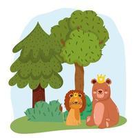 simpatici animali leone e orso con corona su erba alberi natura selvaggia cartone animato