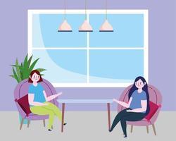 ristorante di allontanamento sociale o un bar, donne che parlano sedute su sedie, covid 19 coronavirus, nuova vita normale vettore