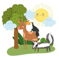 simpatici animali puzzola cervo e tucano erba albero fogliame selvatico cartone animato