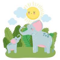 simpatici elefanti famiglia cespugli di erba natura selvaggia cartone animato vettore