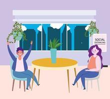 ristorante di allontanamento sociale o bar, uomo e donna seduti a tavola con piante tengono le distanze, covid 19 coronavirus, nuova vita normale vettore