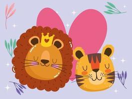 simpatico cartone animato animali adorabili facce tigre e leone con corona vettore