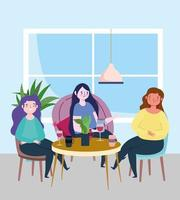 distanziamento sociale ristorante o bar, giovani donne sedute a tavola tengono le distanze, covid 19 coronavirus, nuova vita normale vettore
