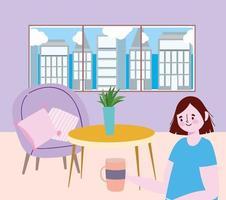ristorante di allontanamento sociale o un bar, donna che tiene una tazza di caffè da sola, covid 19 coronavirus, nuova vita normale vettore