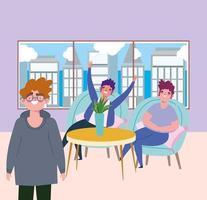 ristorante di allontanamento sociale o un caffè, personaggi di uomini felici del gruppo, covid 19 coronavirus, nuova vita normale vettore