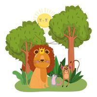 simpatici animali leone scimmia e opossum alberi fogliame erba foresta selvaggia cartone animato