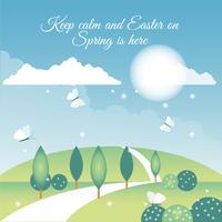 Paesaggio di primavera Design piatto vettoriale