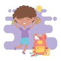 ritorno a scuola, matite righello zaino ragazzo studente e cartone animato educazione tavolozza dei colori