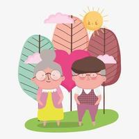 felice giorno dei nonni, coppia di anziani paesaggio cartone animato, personaggi nonno nonna vettore