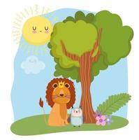simpatici animali leone con corona e gufo erba foresta natura selvaggia cartone animato