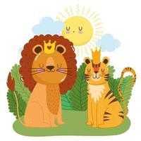 simpatici animali leone con corona e tigre erba vegetazione natura selvaggia cartone animato