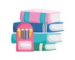 torna a scuola istruzione libri impilati matite colorate in scatola vettore