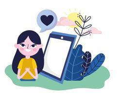giovane donna smartphone discorso bolla messaggio romantico social media vettore