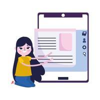 giovane donna smartphone informazioni dati social media vettore