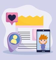 smartphone amore bolla messaggio avatar sito web social media vettore