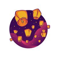 festival delle lanterne del cielo vettore