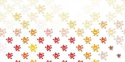 sfondo vettoriale arancione chiaro con simboli covid-19