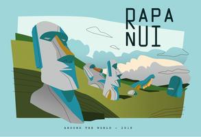 Illustrazione piana di vettore di Rapa Nui dell'isola della pietra di Pasqua della cartolina