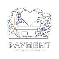 segno del cuore e illustrazione di riserva di vettore di carta di credito