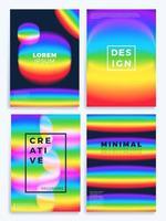set di poster di onde sfumate arcobaleno vettore
