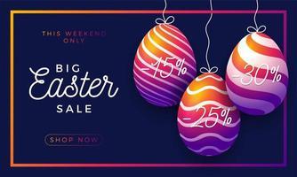 banner orizzontale di vendita di uova di Pasqua