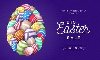 carta di buona Pasqua con le uova