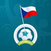 bandiera di vettore della repubblica ceca appuntata su un pallone da calcio