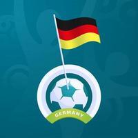 bandiera del vettore della Germania appuntata su un pallone da calcio