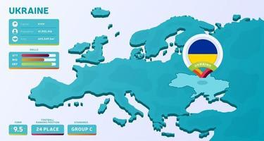 mappa isometrica dell'europa con il paese evidenziato ucraina vettore