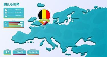 mappa isometrica dell'europa con il paese evidenziato belgio vettore