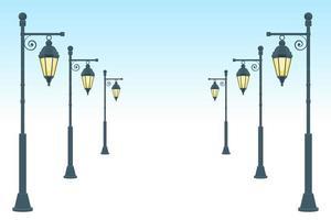 illustrazione di disegno vettoriale vintage lampione isolato su sfondo bianco