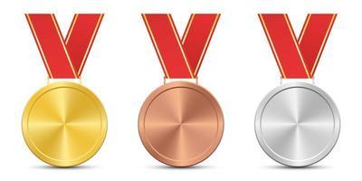 vincitore medaglia set vettore
