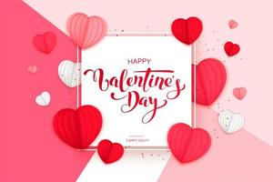 felice giorno di San Valentino design con cuori di carta