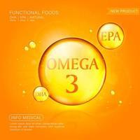 modello di annunci di olio di pesce, softgel omega-3 con la sua confezione. sfondo arancione. Illustrazione 3D. vettore