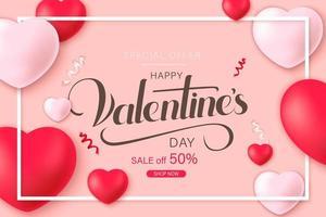felice poster di vendita di san valentino con cuori decorativi e coriandoli