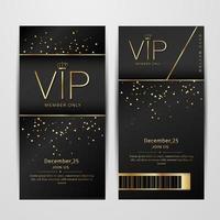 vip party premium biglietti d'invito poster volantini. set di modelli di design nero e dorato. vettore