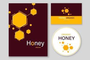 etichette e carte di miele e apicoltura. vettore