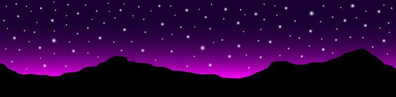 paesaggio del cielo notturno con silhouette di montagne e stelle vettore