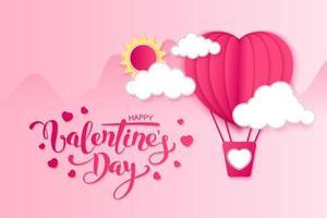 Buon San Valentino disegno vettoriale biglietto di auguri con carta tagliata a forma di cuore rosso volo in mongolfiera e cuori