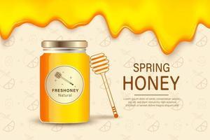 miele di fattoria. modello di cartello pubblicitario con miele realistico, sfondo di confezionamento di prodotti agricoli di alimenti biologici sani. miele di fattoria, cibo dolce biologico, illustrazione naturale di apicoltura vettore