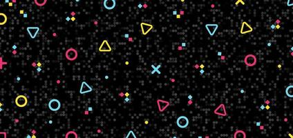 elementi del modello hipster geometrici colorati astratti su sfondo nero mosaico e texture retrò anni '80.
