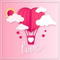Buon San Valentino vettore biglietto di auguri design con carta tagliata a forma di cuore rosso mongolfiere che volano e cuori