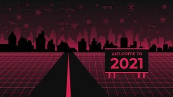 benvenuti nell'illustrazione del 2021 vettore